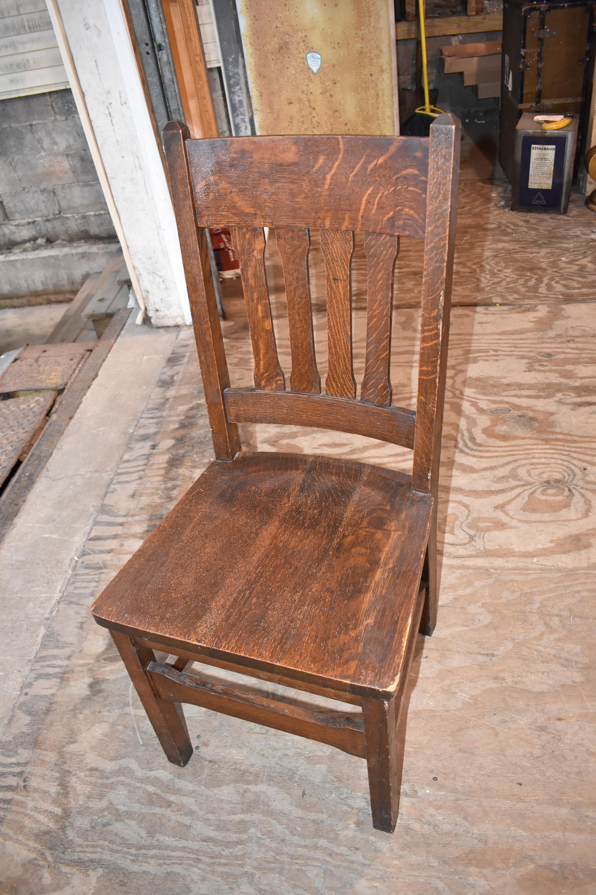 Well Known Vintage Antique Craftsman Mission Oak Dining Side Chair Arts And Intended For Craftsman Upholstered Side Chairs (View 7 of 20)