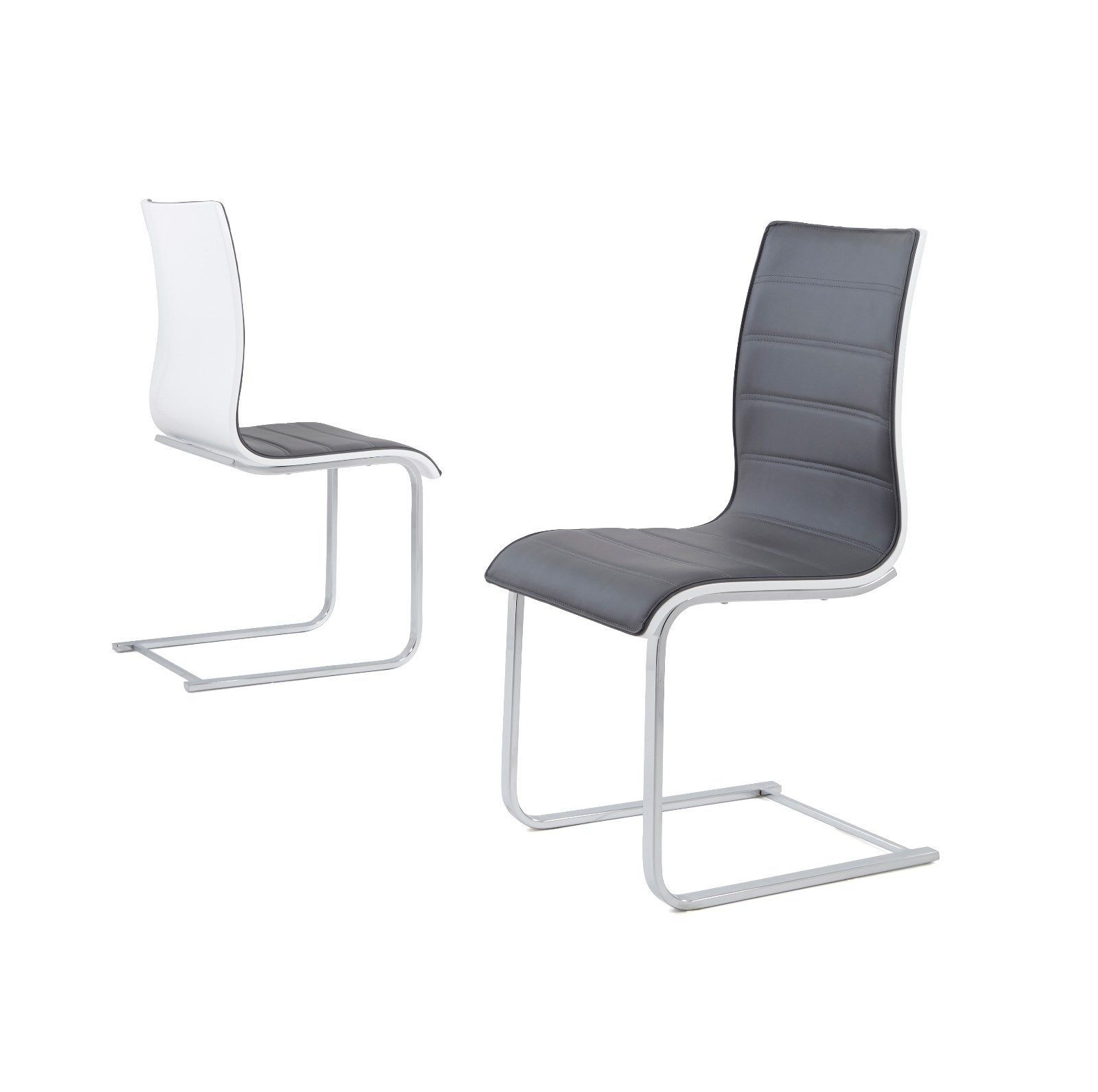 Well Known Wynn High Gloss Back Dining Chairs Only – Grey & White Intended For Grey Dining Chairs (View 11 of 20)