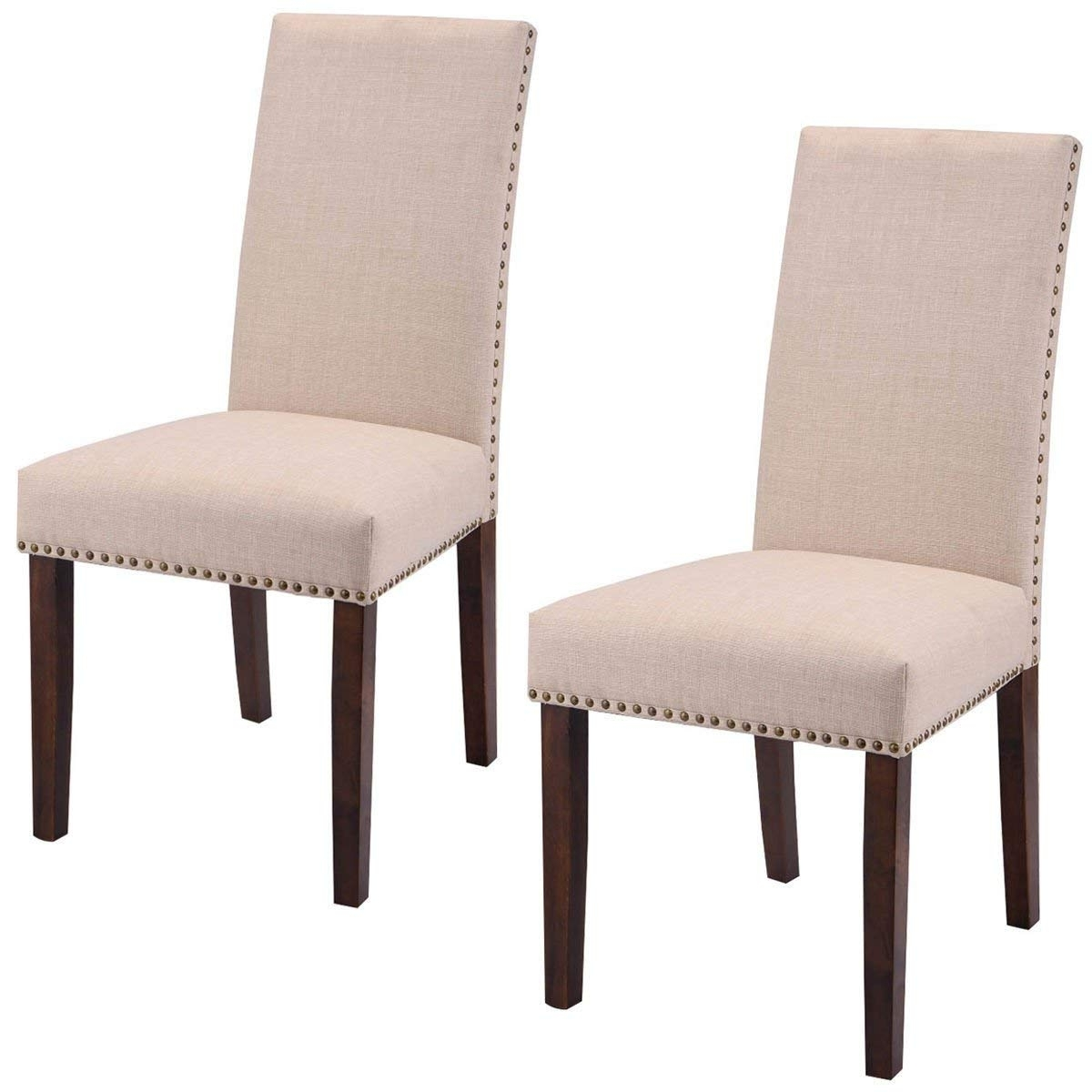 Well Liked Amazon – Giantex Set Of 2 Fabric Upholstered High Back Dining With Armless Oatmeal Dining Chairs (View 15 of 20)