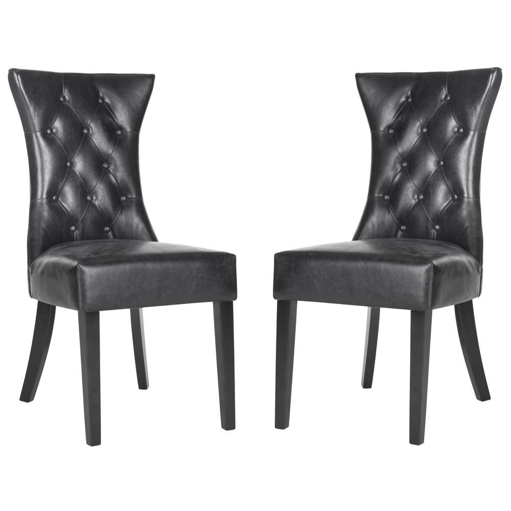Well Liked Caira Black Upholstered Diamond Back Side Chairs For Safavieh Jack Olive/black Linen/polyester Side Chair Mcr4643A – The (View 20 of 20)