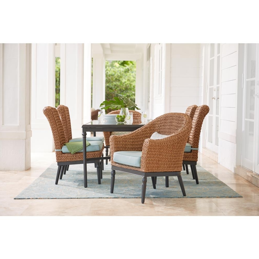 Well Liked Camden Dining Chairs Intended For Home Decorators Collection Camden Light Brown 7 Piece Wicker Outdoor (View 14 of 20)