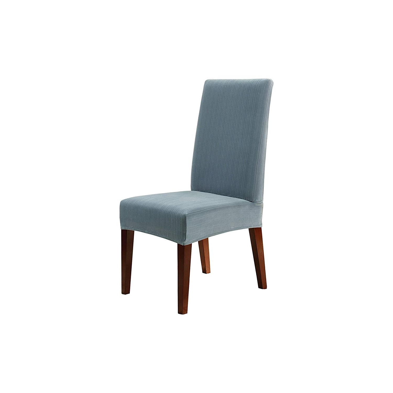 Well Liked Dining Chairs With Blue Loose Seat With Amazon: Sure Fit Stretch Pinstripe – Shorty Dining Room Chair (View 19 of 20)