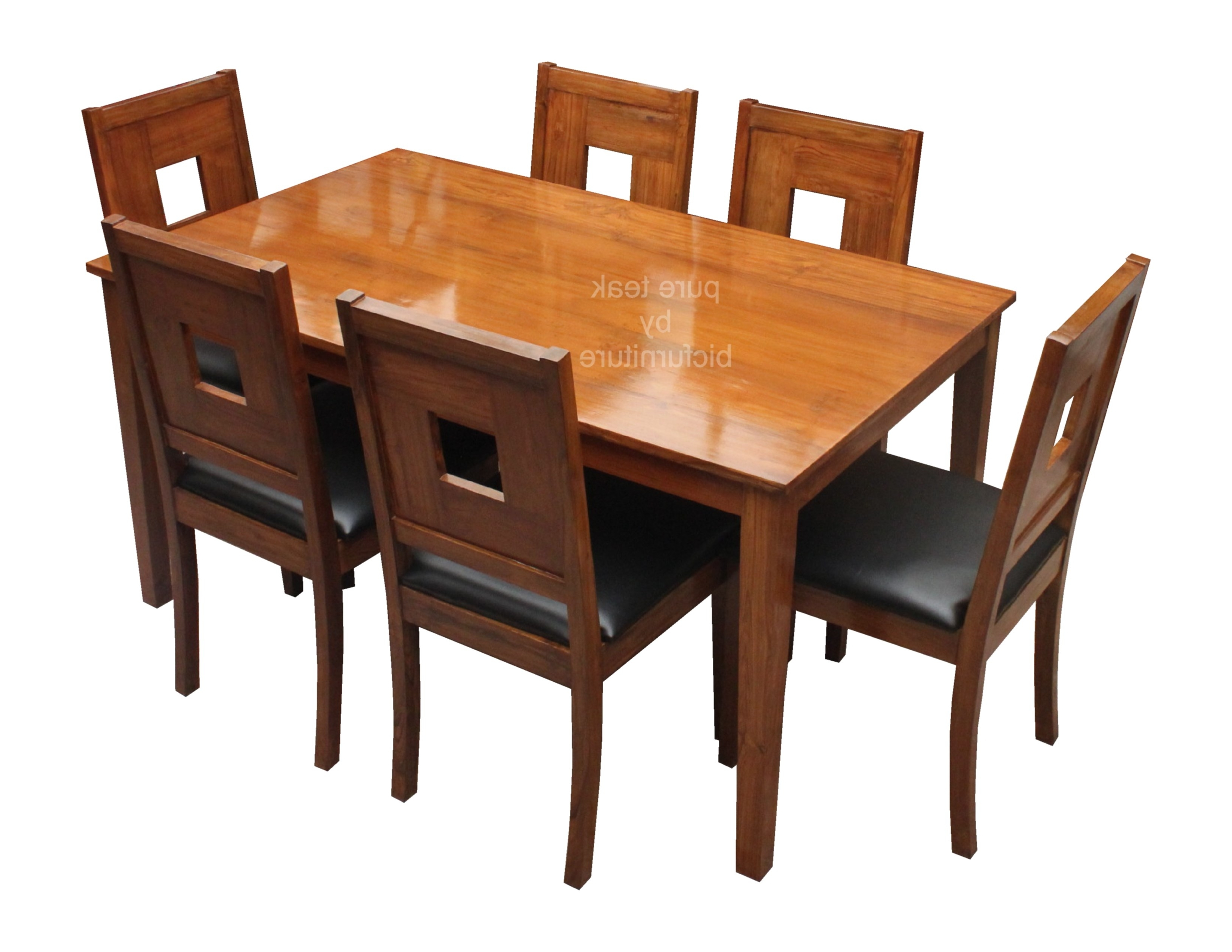 Well Liked Stylish Teak Dining With Art Leather Chairs In 6 Seater Set Within Natural Brown Teak Wood Leather Dining Chairs (View 20 of 20)
