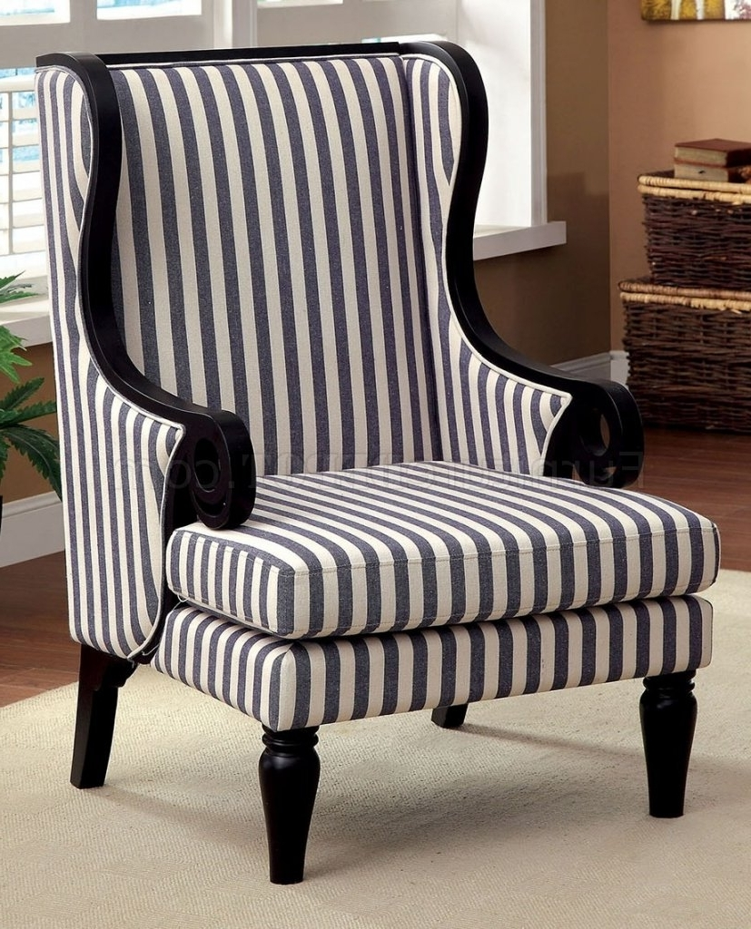 Widely Used Blue Stripe Dining Chairs With Cm Ac6802 Accent Chair In White & Dark Blue Stripes Fabric (View 19 of 20)