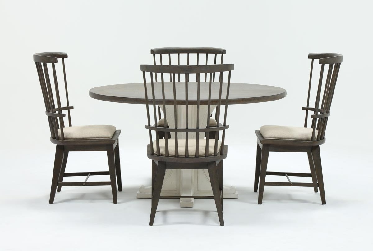 Widely Used Candice Ii Upholstered Side Chairs In Candice Ii 5 Piece Round Dining Set With Slat Back Side Chairs (View 3 of 20)