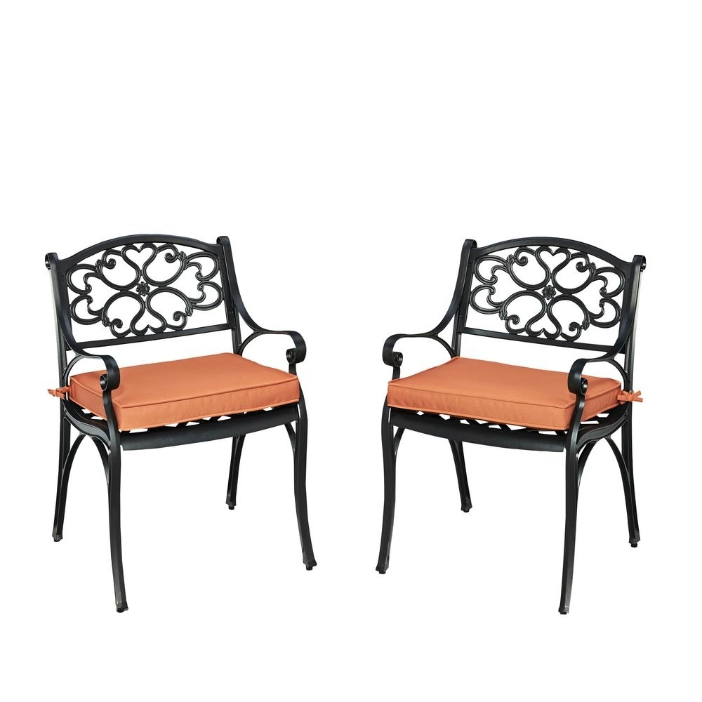 Widely Used Homestyles Biscayne Black Outdoor Dining Arm Chair With Coral Inside Cora Ii Arm Chairs (View 17 of 20)