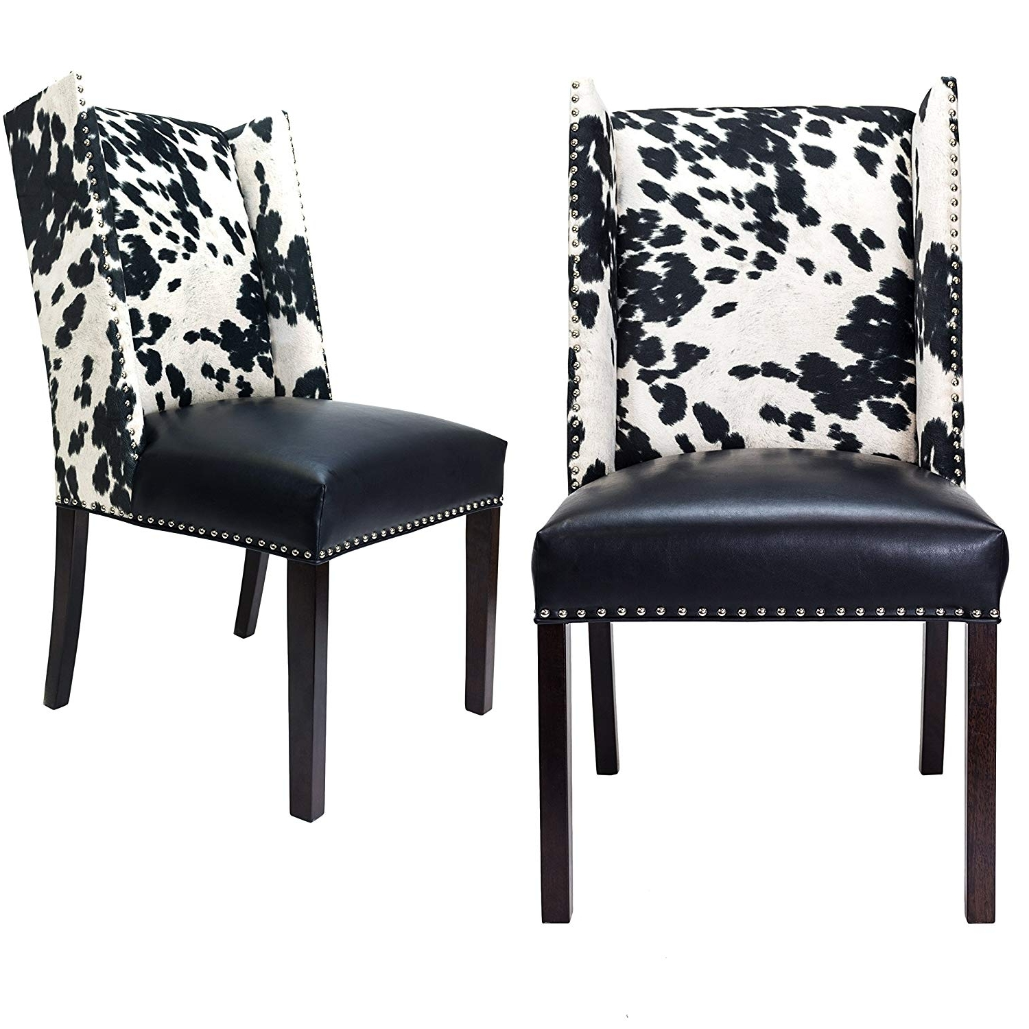 Widely Used Jaxon Wood Side Chairs For Amazon: Sole Designs Rexford Faux Cowhide Leather And Fabric (View 20 of 20)