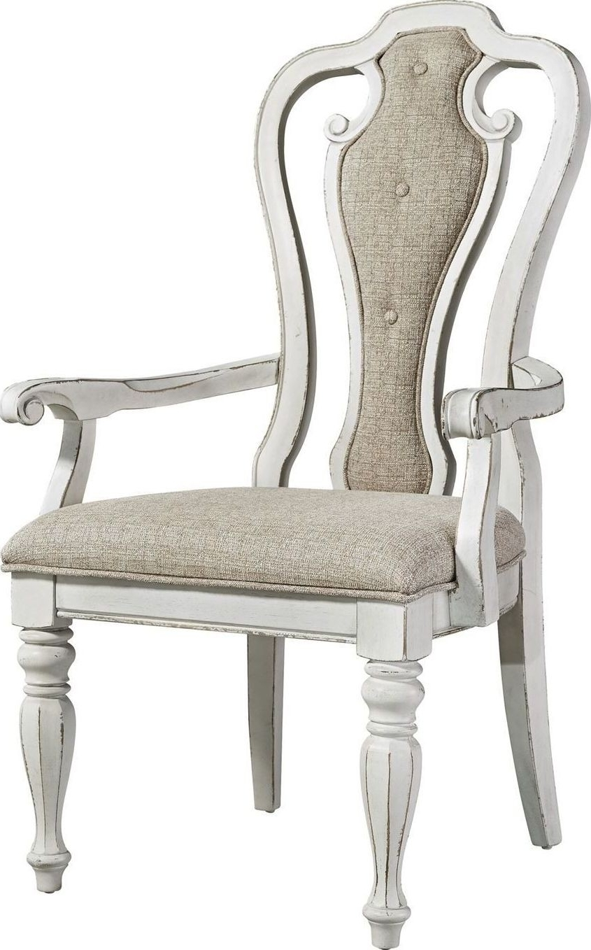 Widely Used Magnolia Manor Antique White Splat Back Arm Chair From Liberty In Magnolia Home Hamilton Saddle Side Chairs (View 7 of 20)