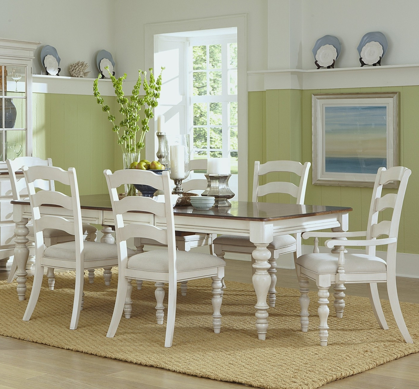 Widely Used Pine Wood White Dining Chairs With Regard To Pine Island Wood Dining Table In Old White (View 5 of 20)
