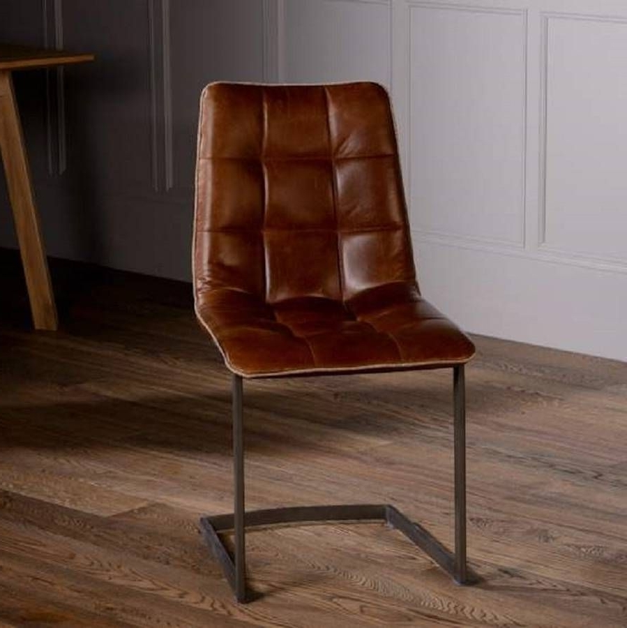 Widely Used Plywood & Metal Brown Dining Chairs Throughout Vintage Italian Leather Dining Chair With Metal Legs (View 11 of 20)