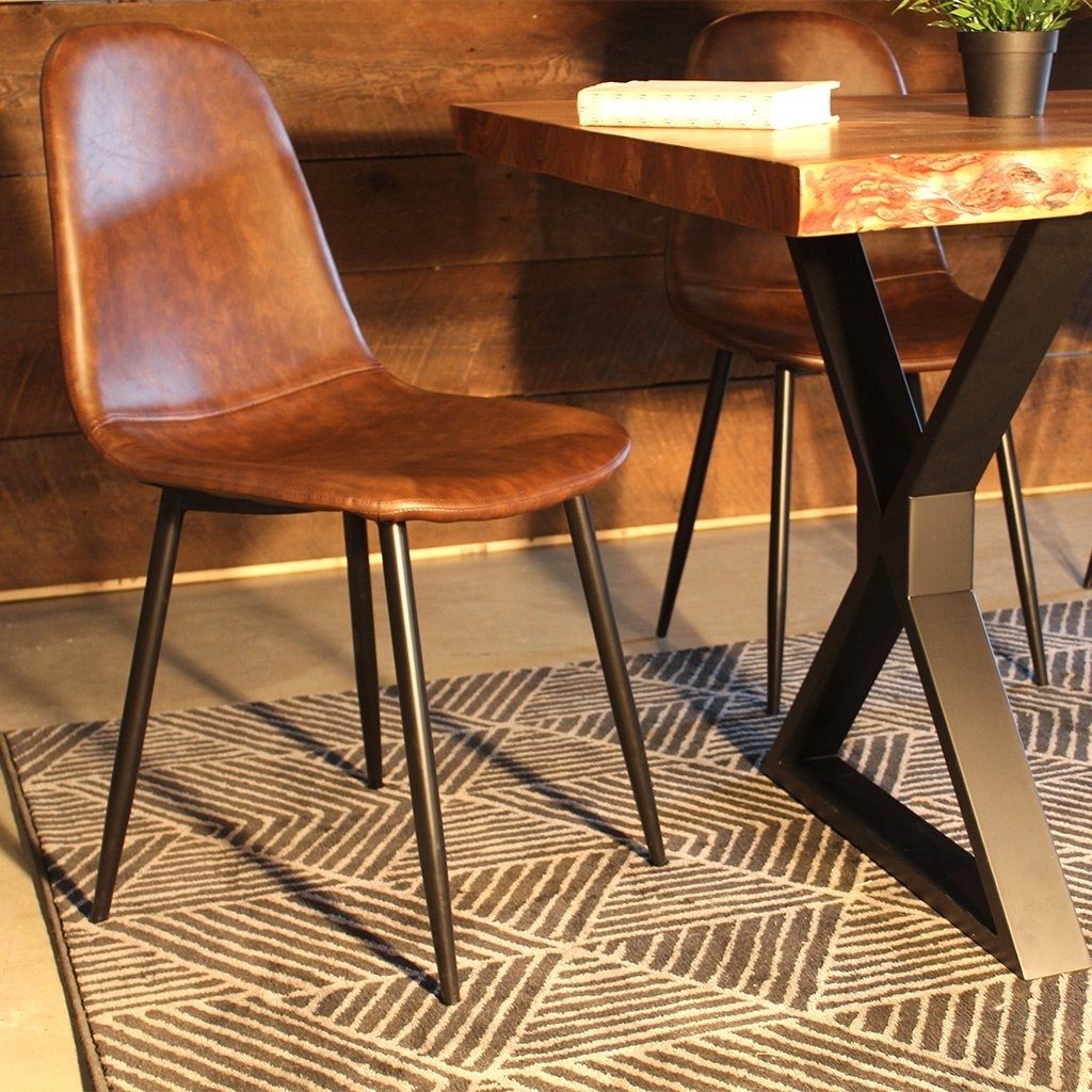 Widely Used Plywood & Metal Brown Dining Chairs With Regard To Milan Eames Style Brown Vintage Leather Dining Chair With Ethan (View 14 of 20)