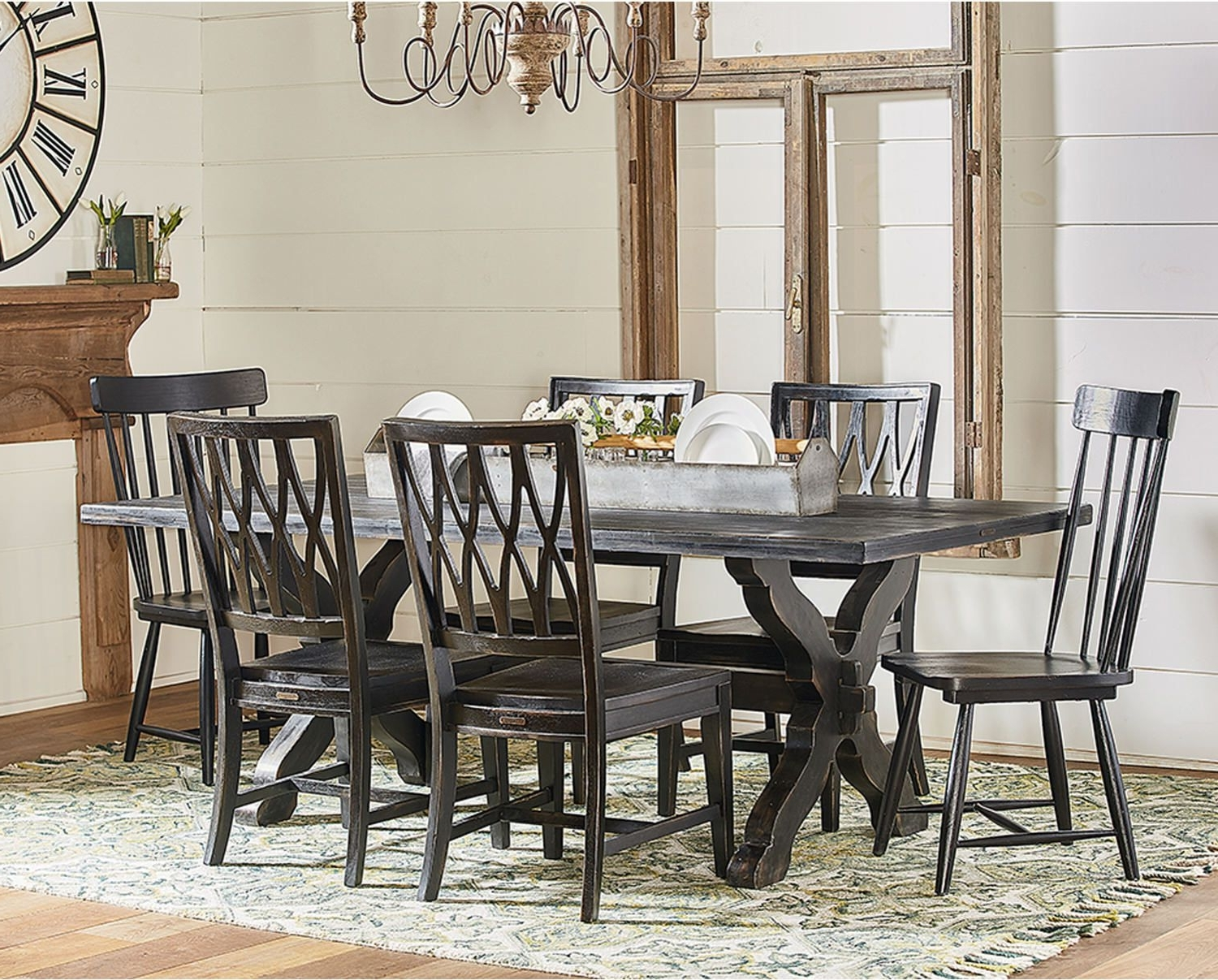 Widely Used Sawbuck Table With 2 Spindle Host Chairs And 4 Camden Side Chairs Inside Magnolia Home Spindle Back Side Chairs (View 15 of 20)