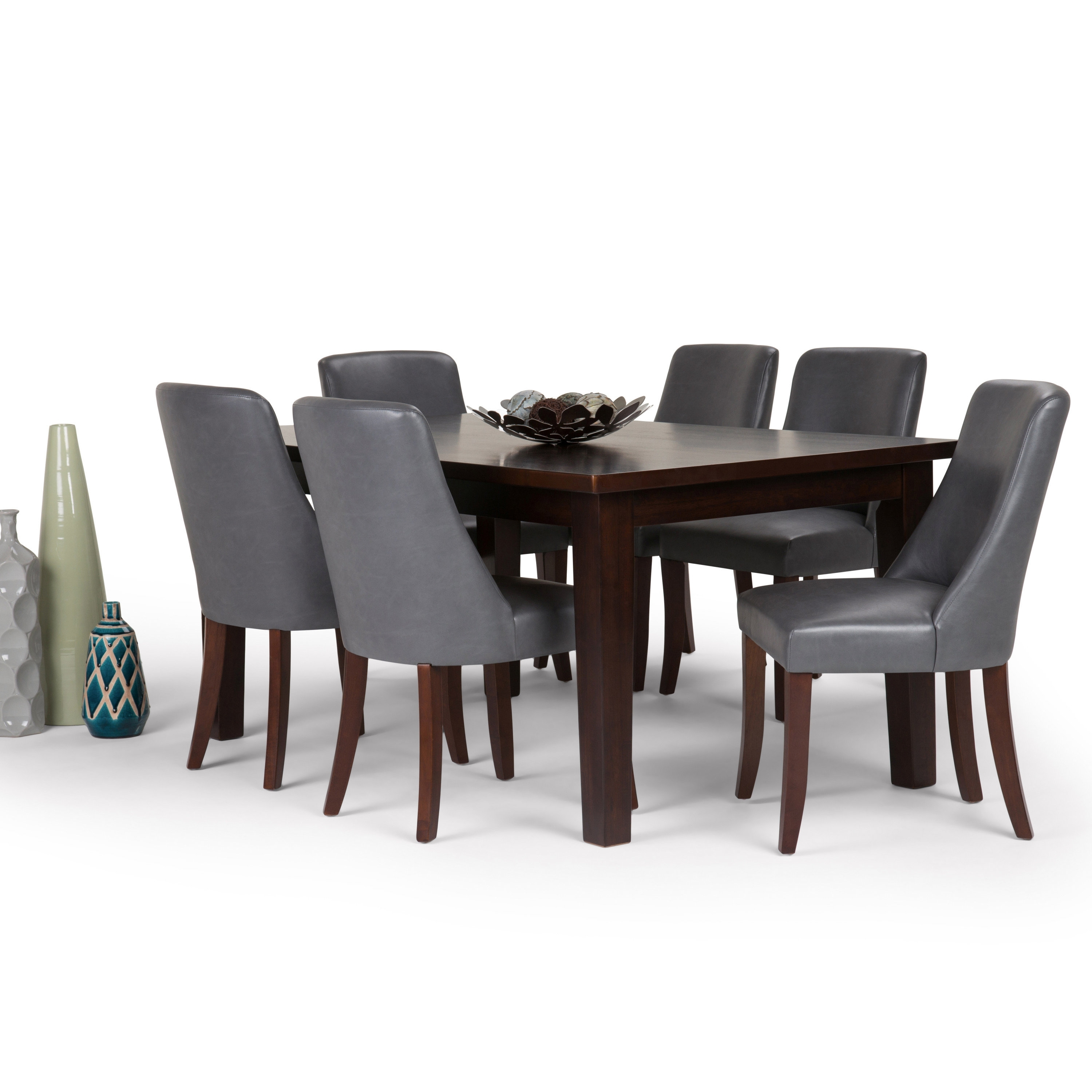 Widely Used Walden Upholstered Side Chairs In Simpli Home Walden 7 Piece Dining Set (View 20 of 20)