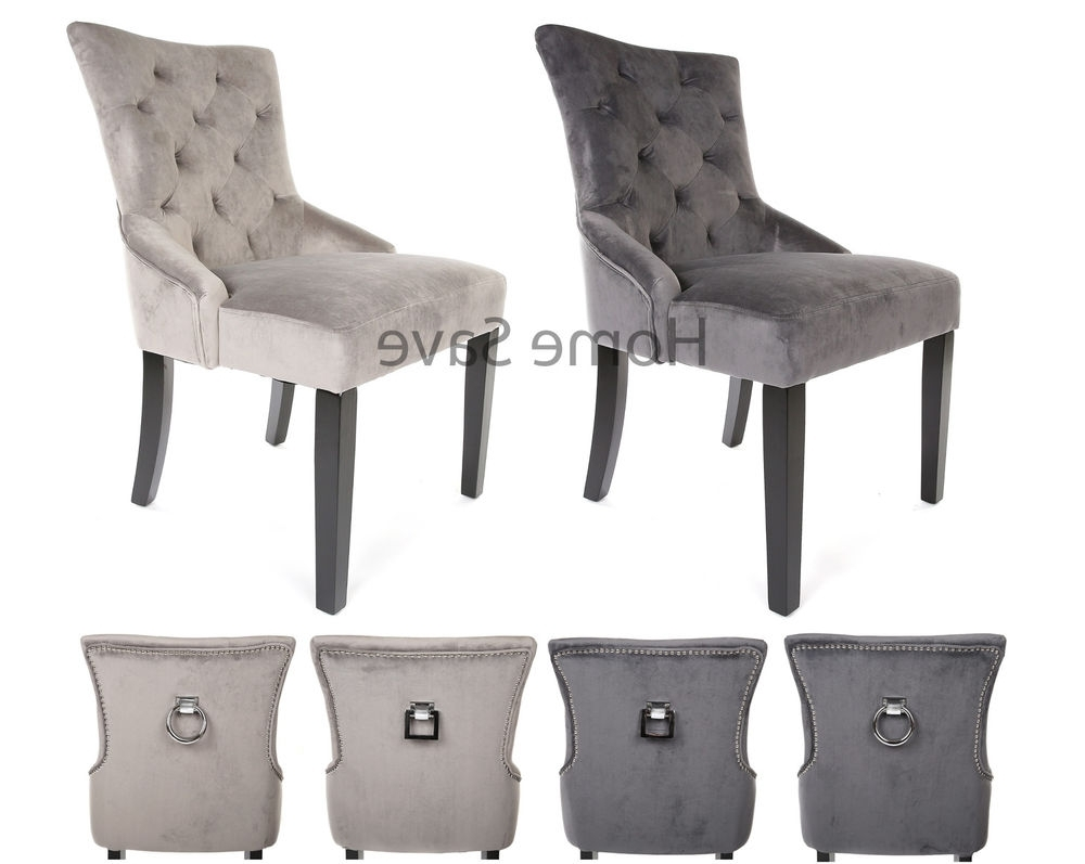 X 2 New Velvet Scoop Back Dining Chair Pair Light Or Deep Grey Stud In Newest Grey Dining Chairs (View 20 of 20)