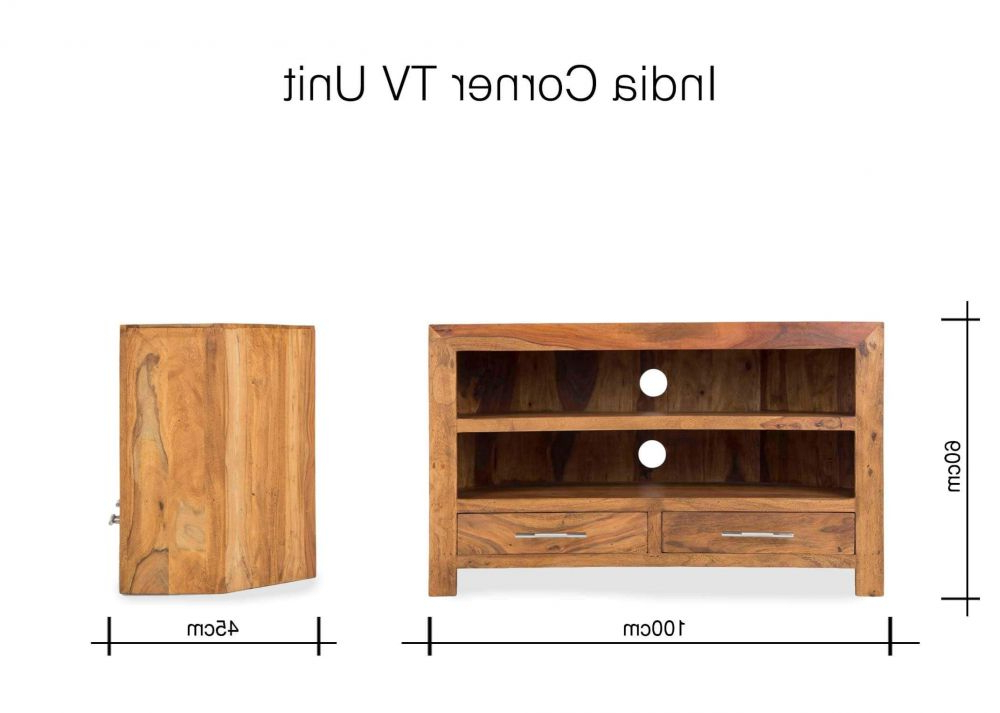 100Cm Width Tv Units Pertaining To Latest Two Drawer Sheesham Wood Corner Tv Unit – India – Ez Living Furniture (Gallery 13 of 20)