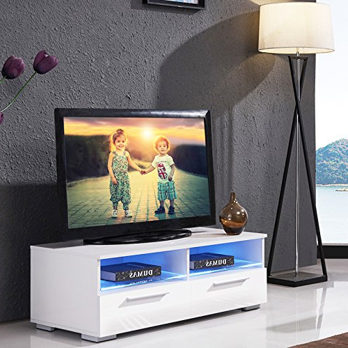 100Cm Width Tv Units Regarding Best And Newest Uenjoy Tv Unit White 100Cm Tv Cabinet High Gloss Tv Stand 2 Shelves (Gallery 6 of 20)