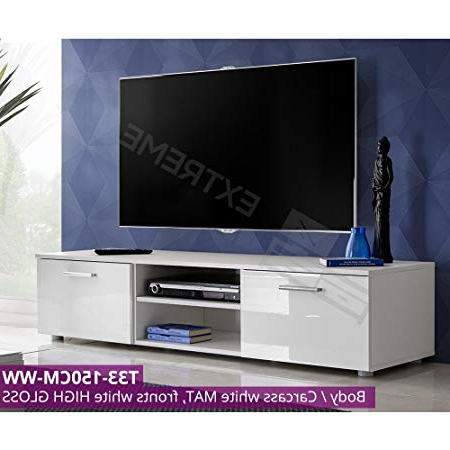 150Cm Modern Tv Unit – High Gloss Doors – Storage Space – Up To 60 Inside Popular 150Cm Tv Units (Gallery 9 of 20)