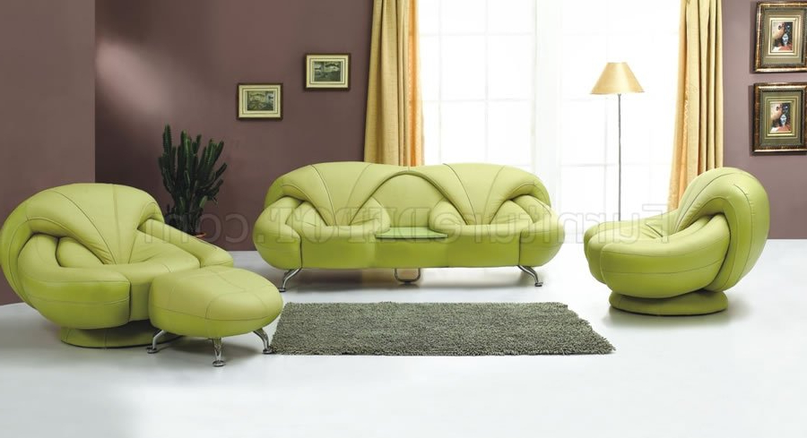 2 Piece Light Green Leather Sofa And Chair Set For Most Up To Date Sofa And Chair Set (View 1 of 20)