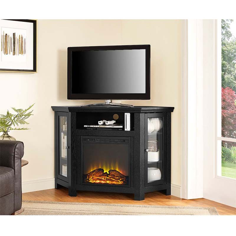 2017 50 Inch Fireplace Tv Stands Inside View A Larger Image Of Walker Edison Corner Fireplace Tv Stand For (View 14 of 20)
