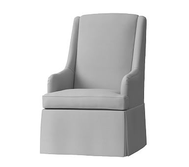 2017 Bailey Linen Flare Arm Wing Skirted Swivel Gliders Within Declan Skirted Swivel Rocker, Performance Everyday Velvet Ivory (View 10 of 20)