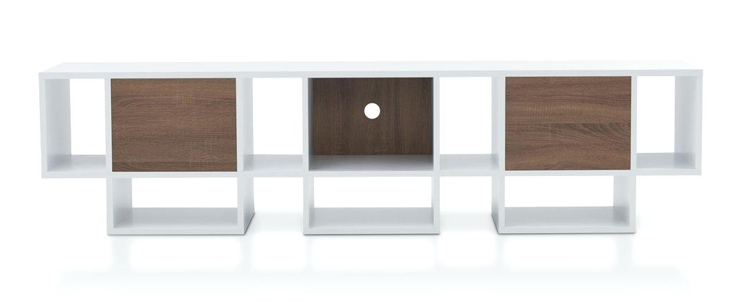 2017 Bale Rustic Grey 82 Inch Tv Stands With Regard To Herald 82 Tv Stand Contemporary White And Chestnut Brown Inch 7  (View 1 of 20)
