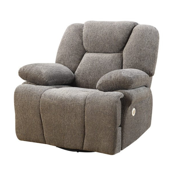 2017 Caressa Leather Dove Grey Sofa Chairs With Regard To Emerald Home Caressa Grey Power Swivel Glider Recliner (View 1 of 20)