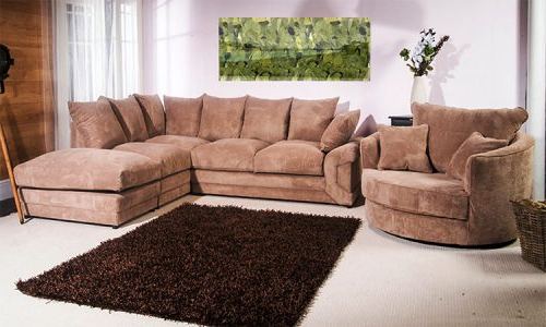 2017 Corner Sofa And Swivel Chairs For Camellia Fabric Corner Sofa Full Coffee – Mega Deals Uk (View 1 of 20)
