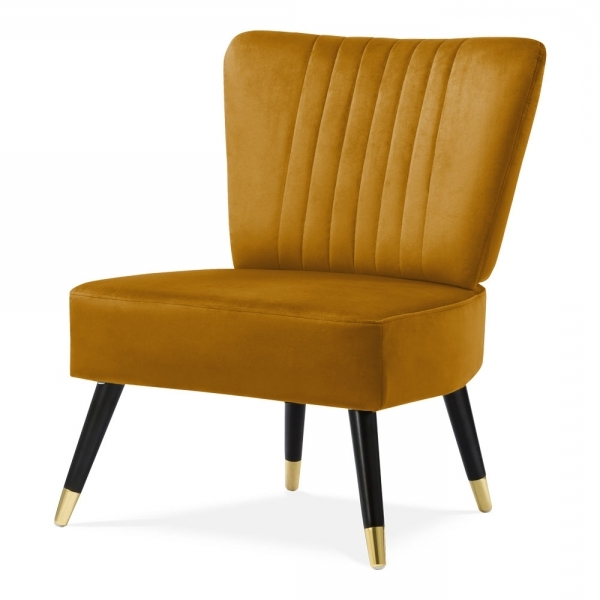 2017 Mustard Abigail Wingback Cocktail Chair Velvet Upholstered (View 1 of 20)
