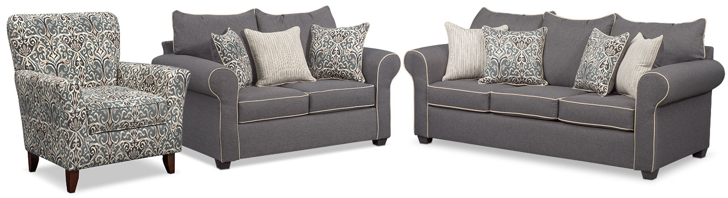 2017 Sofa Loveseat And Chairs Inside Carla Sofa, Loveseat, And Accent Chair Set – Gray (Gallery 8 of 20)