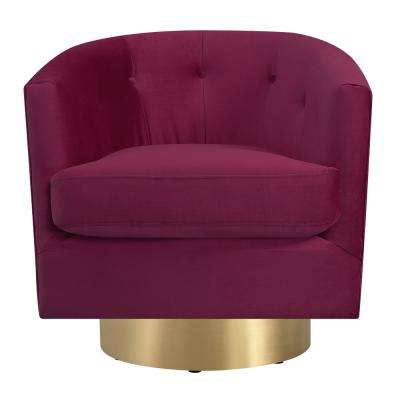 2017 Velvet – Red – Accent Chairs – Chairs – The Home Depot Regarding Harbor Grey Swivel Accent Chairs (View 3 of 20)
