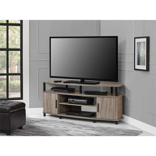 2018 Ameriwood Home Carson 50 Inch Sonoma Oak Corner Tv Stand (Tv Stand In 24 Inch Corner Tv Stands (Gallery 5 of 20)