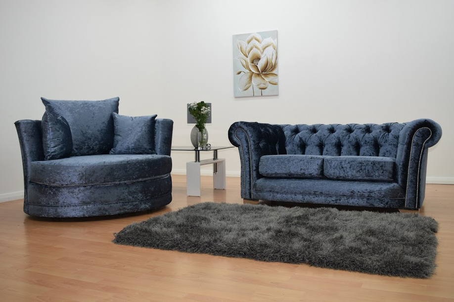 2018 Bella Blue Velvet Cuddle Chair (View 18 of 20)