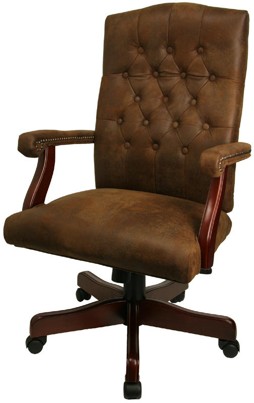 2018 Chocolate Brown Leather Tufted Swivel Chairs In Wood And Leather Office Chair Wood And Canvas Folding Light Brown (Gallery 9 of 20)