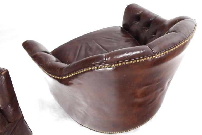 2018 Chocolate Brown Leather Tufted Swivel Chairs Intended For Pair Of Brown Shiny Leather Swivel Chairs Tufted Chesterfield Backs (View 16 of 20)