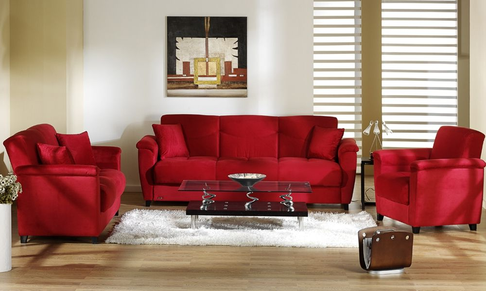 2018 Red Sofas And Chairs With Regard To 25 Elegant Monochromatic Living Room Colors In White Ideas (View 1 of 20)