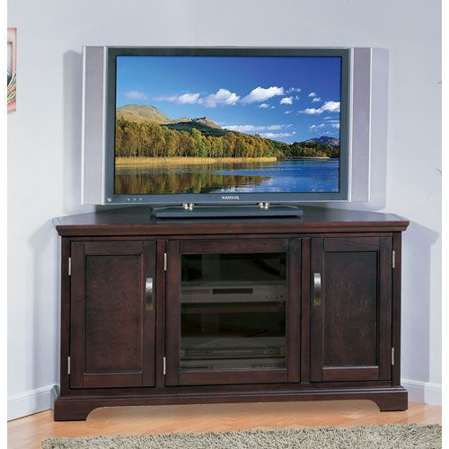 2018 Riley Holliday Chocolate Cherry Corner Tv Stand Leick Furniture Inside 50 Inch Corner Tv Cabinets (Gallery 15 of 20)