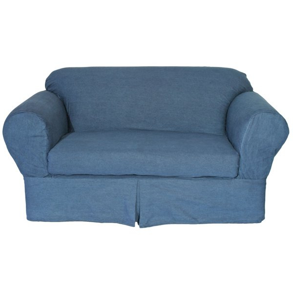 2018 Shop Washed Heavy Denim Cotton 2 Piece Loveseat Slipcover – On Sale With Regard To Slipcovers For Chairs And Sofas (View 1 of 20)