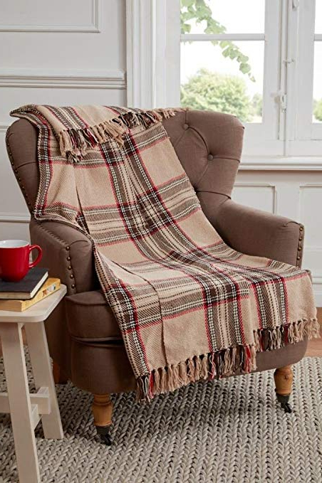 2018 Tartan Check Design Throw Blanket For Sofa/chair / Bed, Cotton In Cotton Throws For Sofas And Chairs (View 7 of 20)