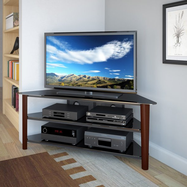 24 Inch Corner Tv Stands Pertaining To Popular Shop Alturas Stained Wood Corner Tv Stand For Up To 68 Inch Tvs (Gallery 4 of 20)