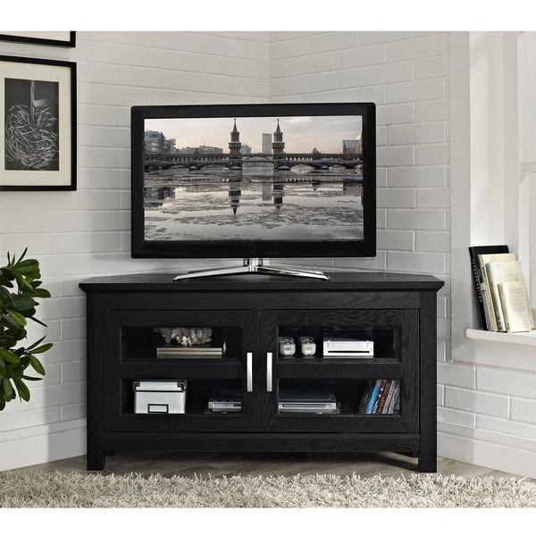 24 Inch Corner Tv Stands Regarding Preferred Black Wood 44 Inch Corner Tv Stand – Overstock™ Shopping – Great (Gallery 15 of 20)