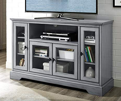 "24 Inch Tall Tv Stands Within Latest Amazon: We Furniture 52"" Wood Highboy Style Tall Tv Stand (View 6 of 20)"