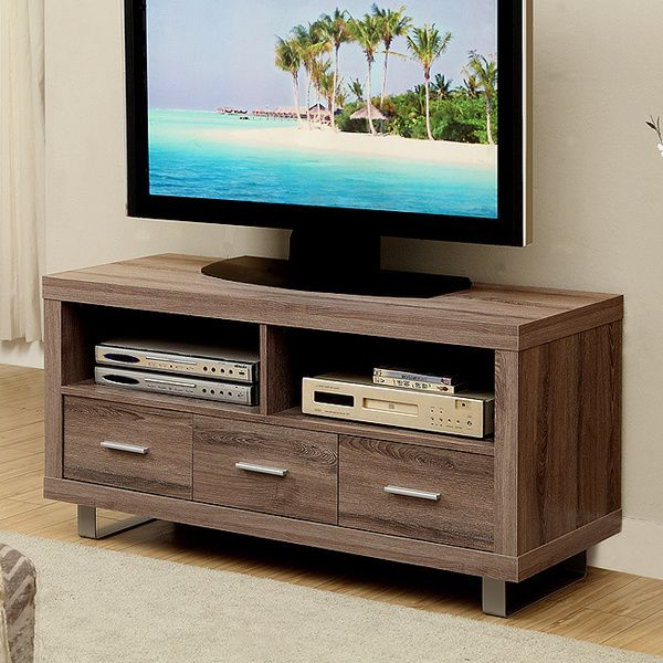 24 Inch Wide Tv Stands Within Trendy Dark Taupe Reclaimed Look 48 Inch Tv Console With 3 Drawers (View 7 of 20)