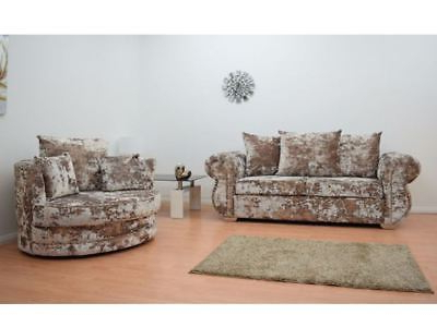 3 Seater Sofa And Cuddle Chairs In Well Liked Bentley 3 Seater Sofa And Cuddle Chair Set In Crushed Velvet Lawson (View 19 of 20)