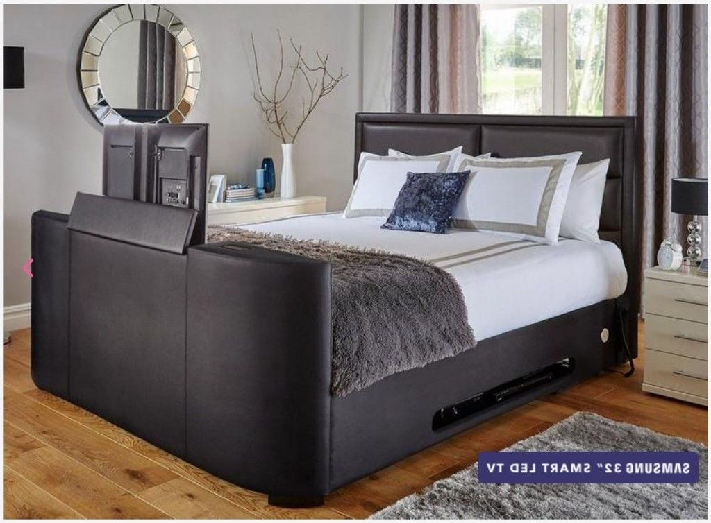 32 Inch Tv Beds In Famous Black Leather Dreams Truscott Double Tv Bed – 32 Inch Samsung Smart (View 2 of 20)
