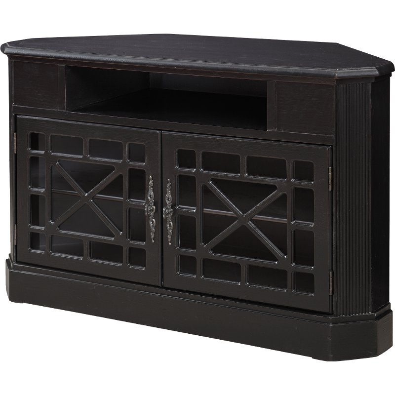 50 Inch Textured Black Corner Tv Stand (Gallery 14 of 20)