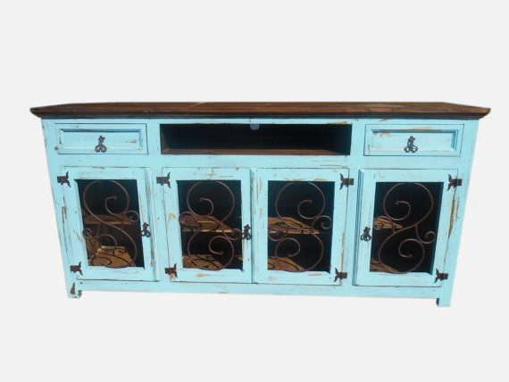 80 Inch Tv Stands For Trendy 80 Inch Hi End Turquoise Tv Stand With Metal Scroll On Doors Rustic (Gallery 14 of 20)