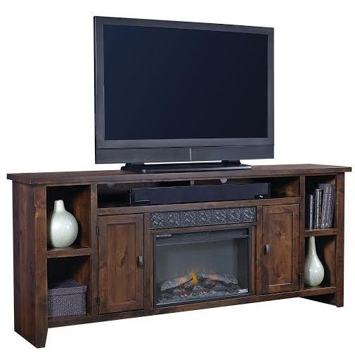 84 Inch Tv Stands For Best And Newest Rich Brown Wooden 85 Inch Fireplace Tv Stand – Alder Grove (Gallery 9 of 20)