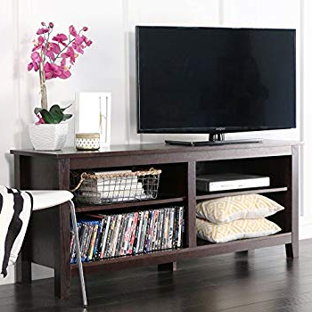 "Abbot 60 Inch Tv Stands Inside Most Recently Released Amazon: We Furniture 60"" Black Wood Tv Stand Console: Kitchen (View 2 of 20)"