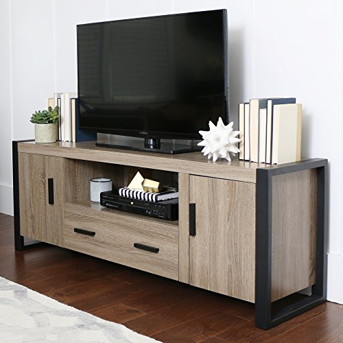 "Abbott Driftwood 60 Inch Tv Stands With Most Recently Released Amazon: Walker Edison Furniture 60"" Wood Console Media Tv Stand (View 8 of 20)"