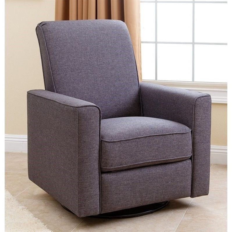 Abbyson Living Hampton Nursery Swivel Glider Recliner Chair In Gray With Regard To Most Recent Dale Iii Polyurethane Swivel Glider Recliners (View 13 of 20)